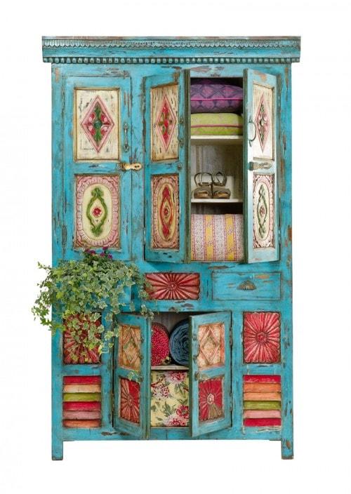 Bohemian Inspired Bedroom: Painted Cupboard
