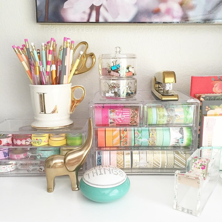Desk organization: Clear Containers for Everything on your desk