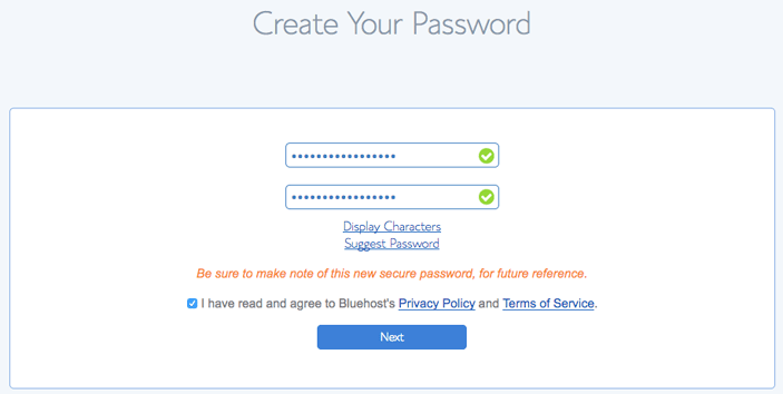 How to start a blog for beginners: Create your password