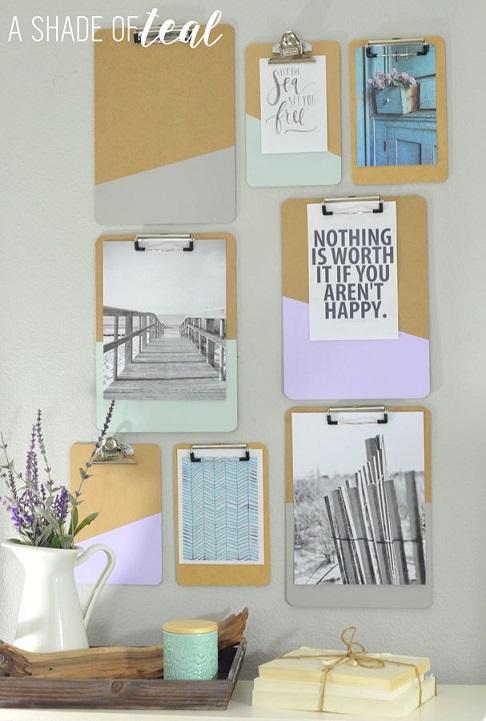 desk organization tips: DIYClipboard Wall Art