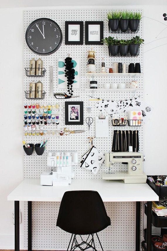 desk organization tips: Peg Board storage