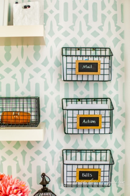 Desk organization tips: Sort your daily mail in baskets
