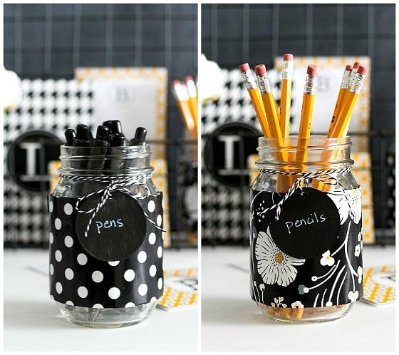 Desk organization tips: DIY Mason Jar Utensil Holders