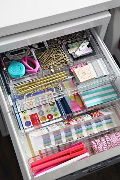 desk organization tips: Drawer organizers