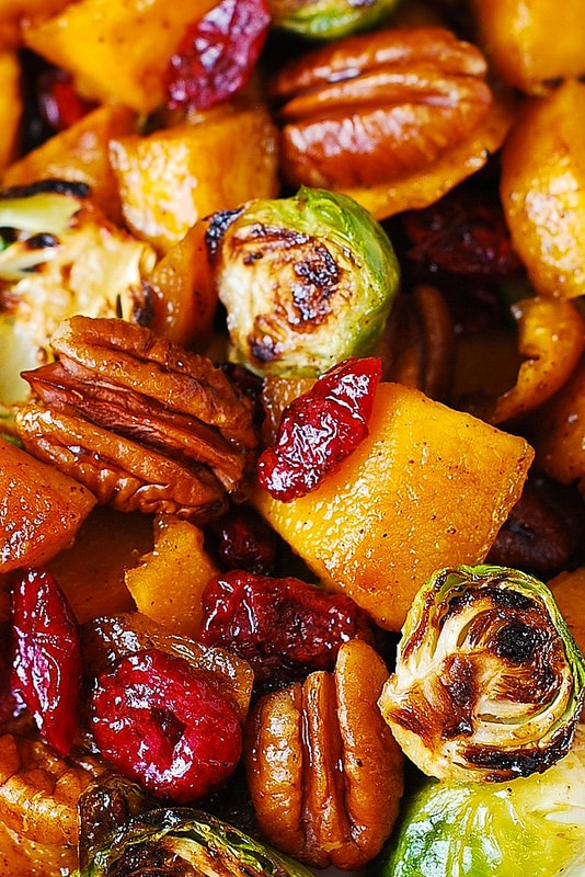 Butternut Squash Recipes: Roasted Brussels sprouts, Cinnamon Butternut Squash, Pecans, And Cranberries