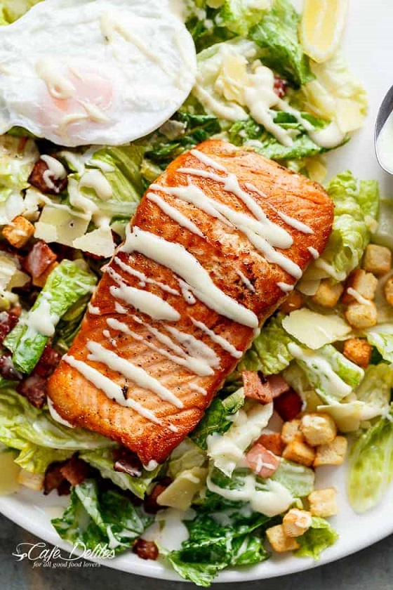 Put an egg on it: Salmon and avocado Caesar salad