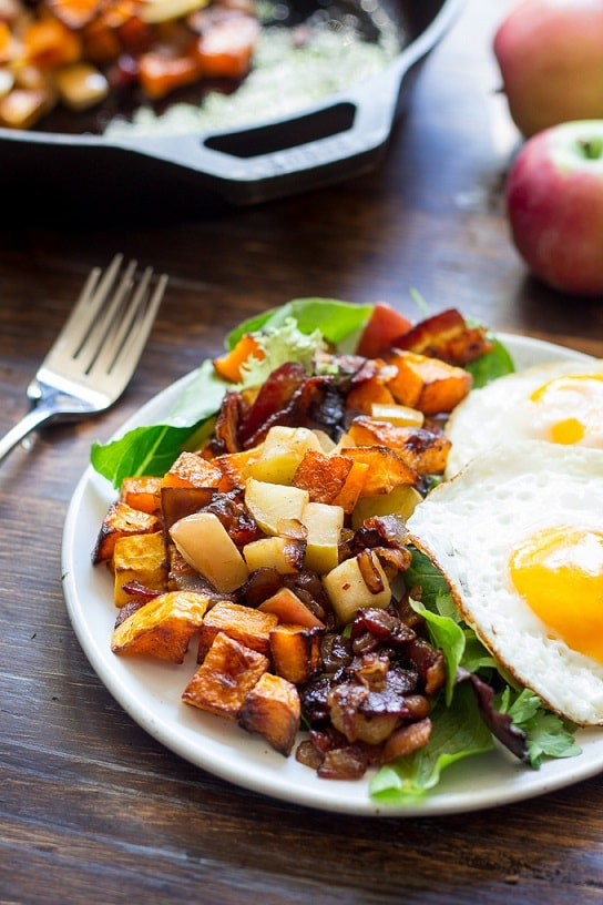 Butternut Squash Recipes: Roasted Butternut Squash Hash With Apples & Bacon