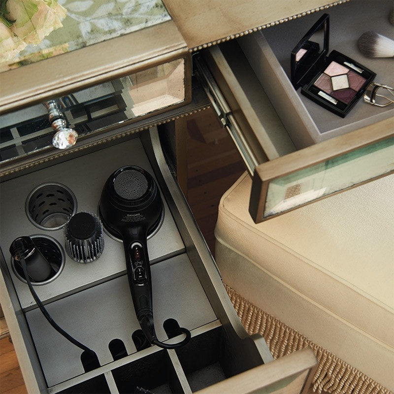 organize your bathroom : a socket in bathroom cabinet drawer