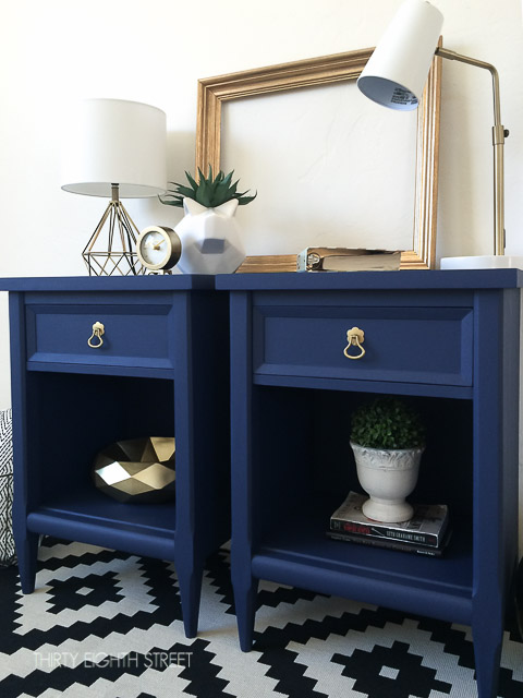 Furniture makeover ideas:Blue Painted Nightstands