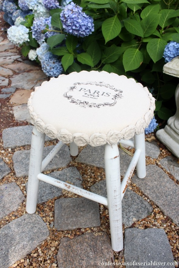 Furniture makeover ideas: Drop cloth Rosette Trimmed Stool