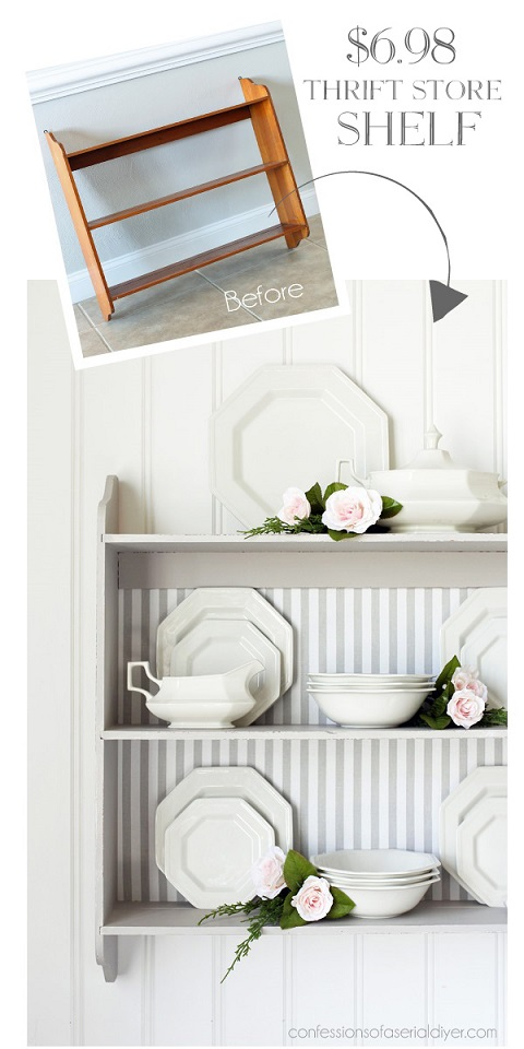 Furniture makeover ideas: Fabric Backed Hanging Shelf