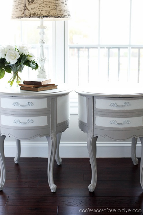 Furniture makeover ideas:Oval French Provincial Side tables