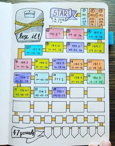 Bullet Journal Ideas:Weight Loss Tracker