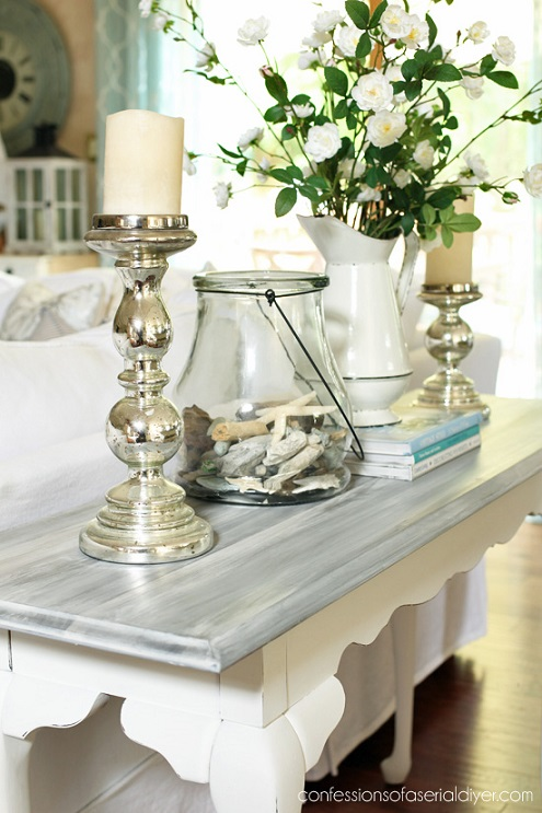 Furniture makeover ideas:White washed sofa table