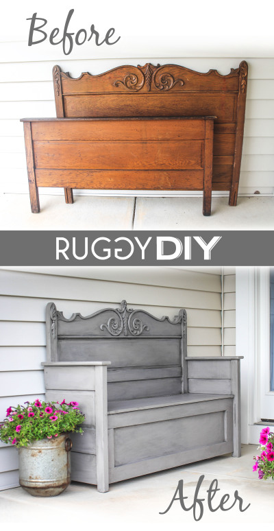 Furniture Makeover Ideas:Repurposed Headboard Bench