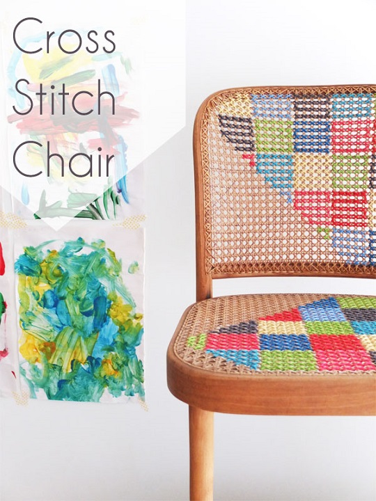 furniture makeover ideas: cross stitch chair