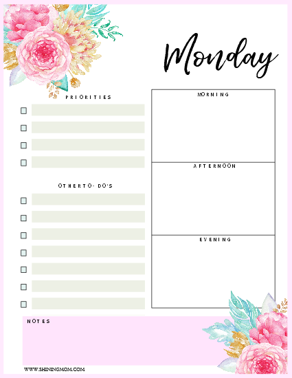 free printables: daily planner 2018