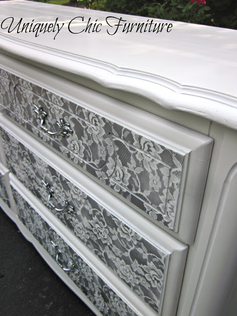 furniture makeover ideas:dresser with silver spray paint over lace
