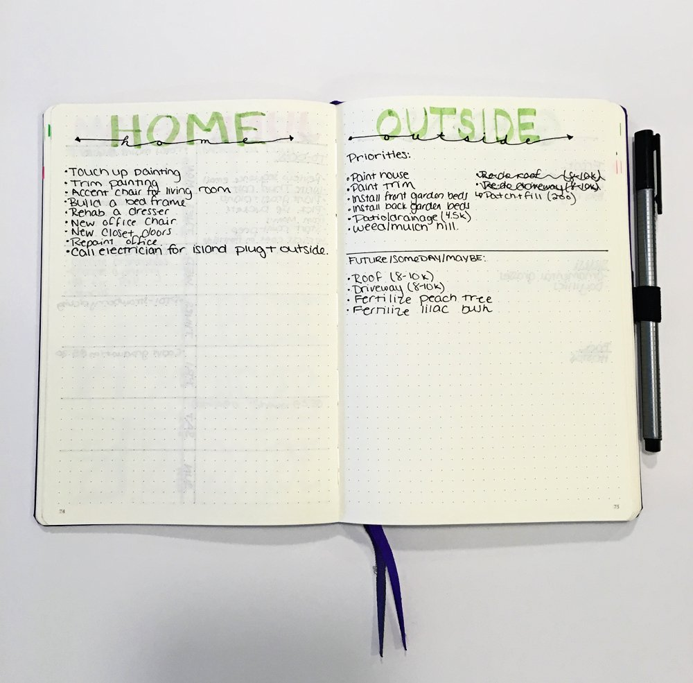Bullet Journal Ideas:Home Projects Spread