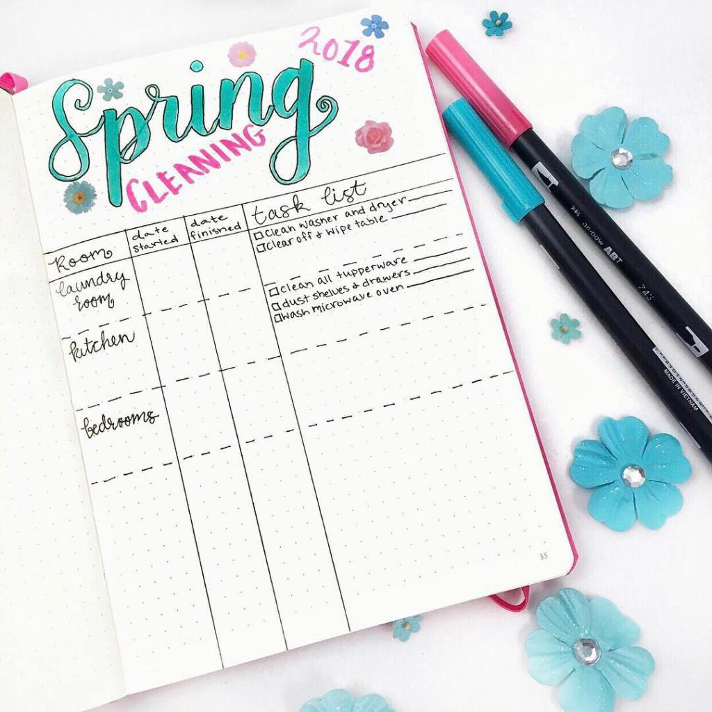 Bullet Journal Ideas:Spring Cleaning