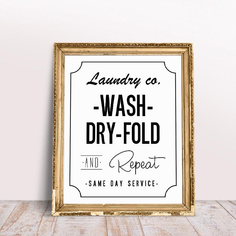 Free printables: wash dry fold printable