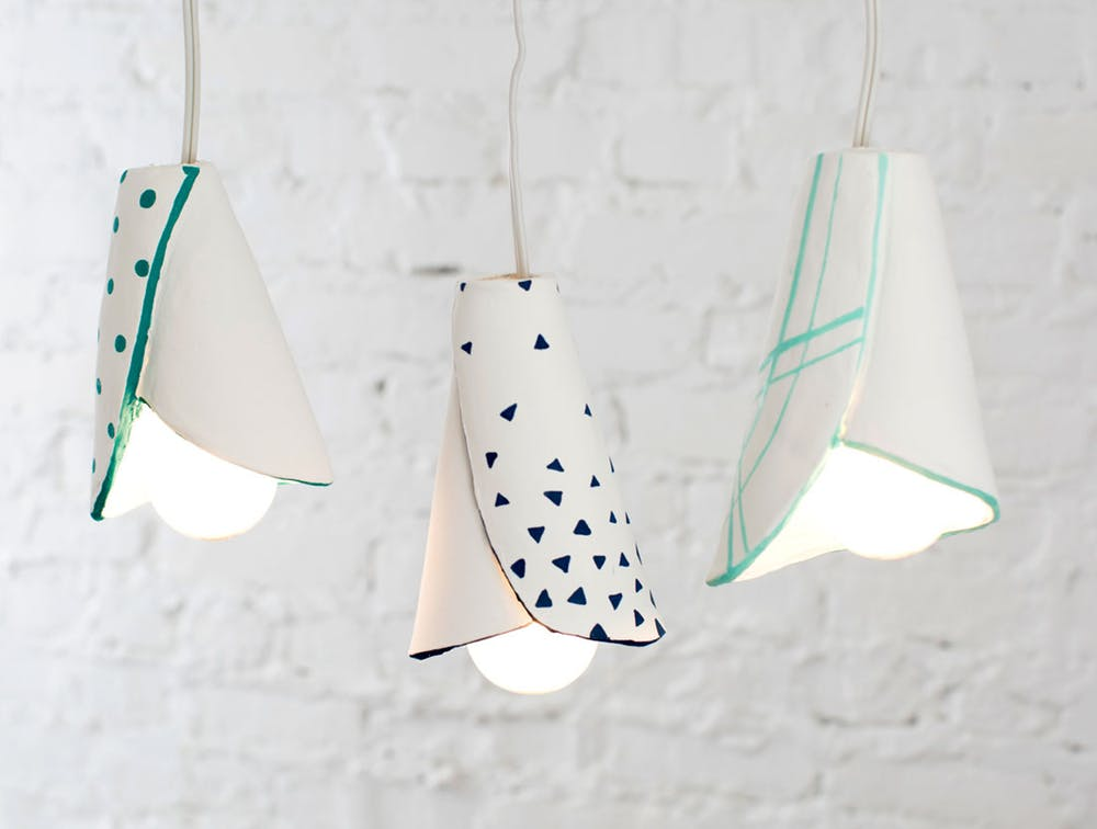 air dry clay projects: Clay Cone Lamp