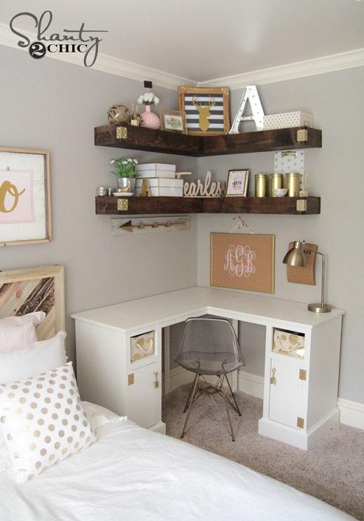bedroom organization hacks: Floating Corner Shelves