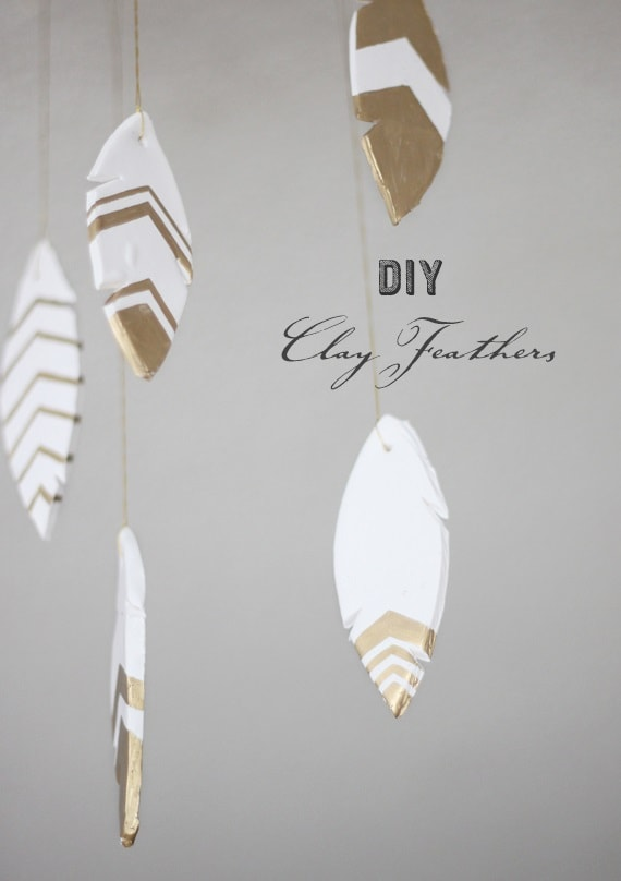 air dry clay projects: clay feathers