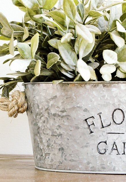 diy farmhouse decor: galvanised metal planter