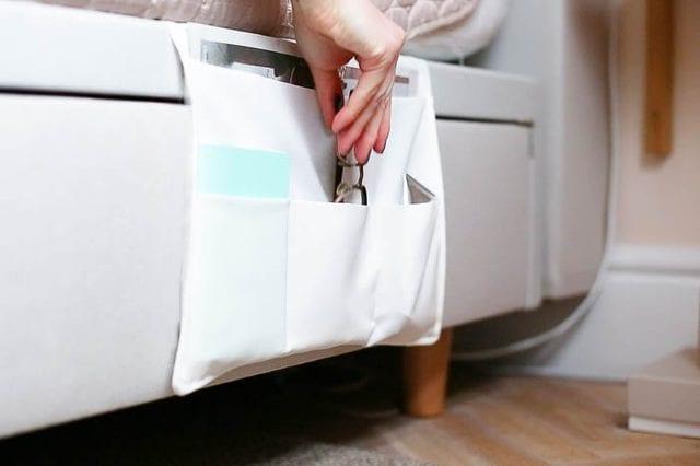 bedroom orginazation hacks: bedside caddy
