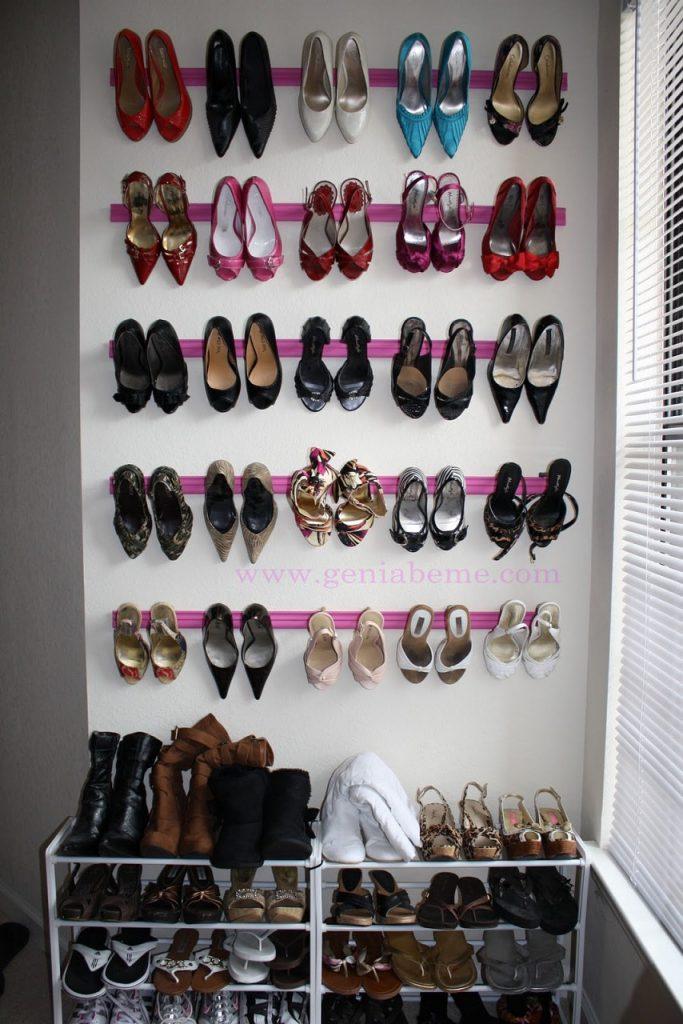 bedroom orginazation hacks: crown moulding shoe storage