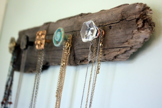 diy farmhouse decor: driftwood necklace holder