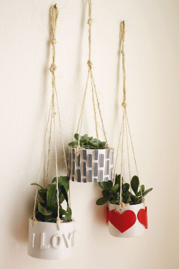 air dry clay projects: hanging planters