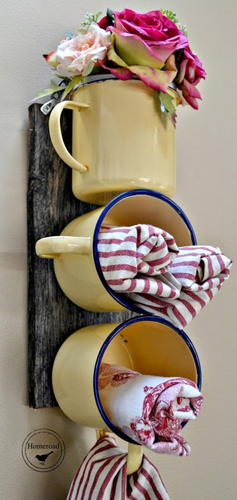 diy farmhouse decor: kitchen enamel cups
