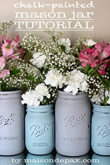 diy farmhouse decor: mason jars blue and gray with flowers