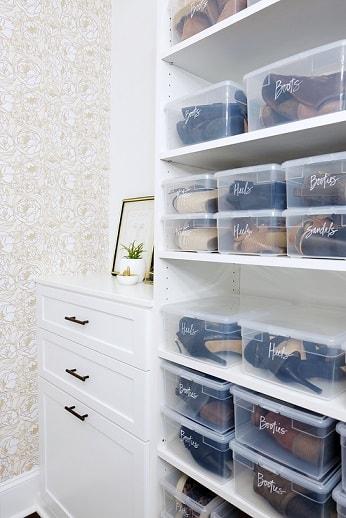bedroom organization hacks: plastic container storage
