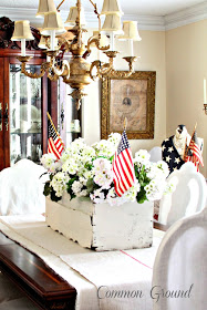 DIY fourth of July decorations: white wooden box with geraniums