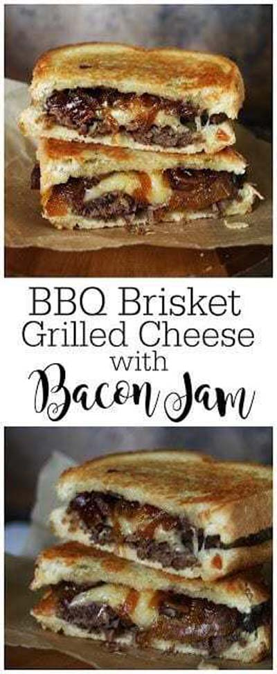 BBQ Recipes: BBQ Brisket Grilled Cheese with Bacon Jam