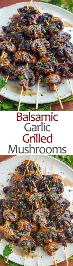 BBQ Recipes: Balsamic Garlic Grilled Mushrooms