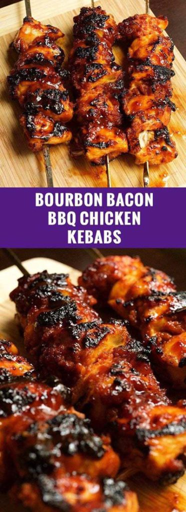 BBQ Recipes: Bourbon Bacon BBQ Chicken Kebabs