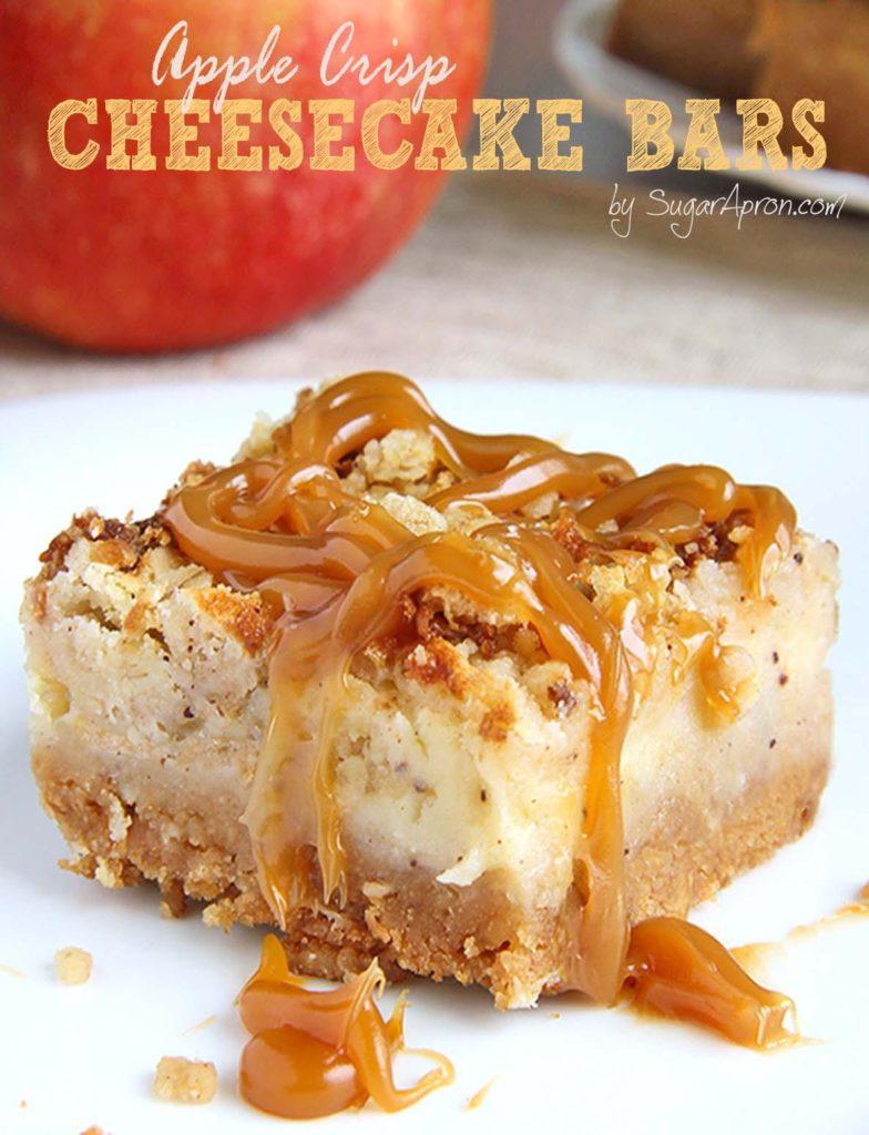 Caramel Recipes: Caramel Apple Crisp Cheesecake Bars