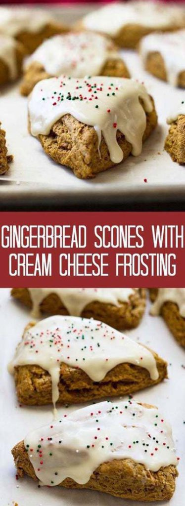 Gingerbread Recipes: Gingerbread Scones with Cream Cheese Frosting