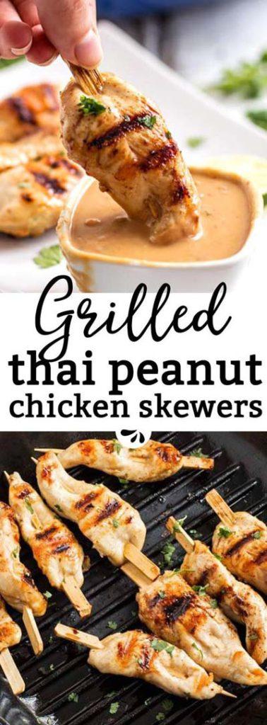 BBQ Recipes: Grilled Thai Peanut Chicken Skewers