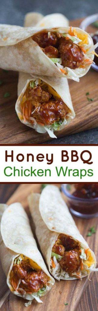 BBQ Recipes:Honey BBQ Chicken Wraps