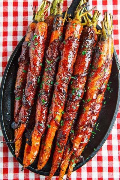 BBQ Recipes: Maple Glazed Bacon Wrapped Roasted Carrots