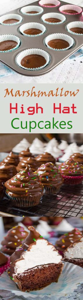 Christmas Cupcakes: Marshmallow High Hat Cupcakes