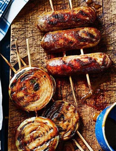 BBQ Recipes: Sticky-Glazed Sausages & Onion Rings