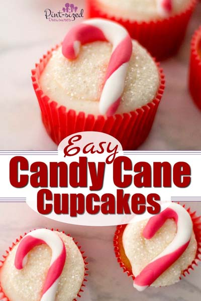 Christmas cupcakes: Easy Fondant Candy Cane Cupcakes