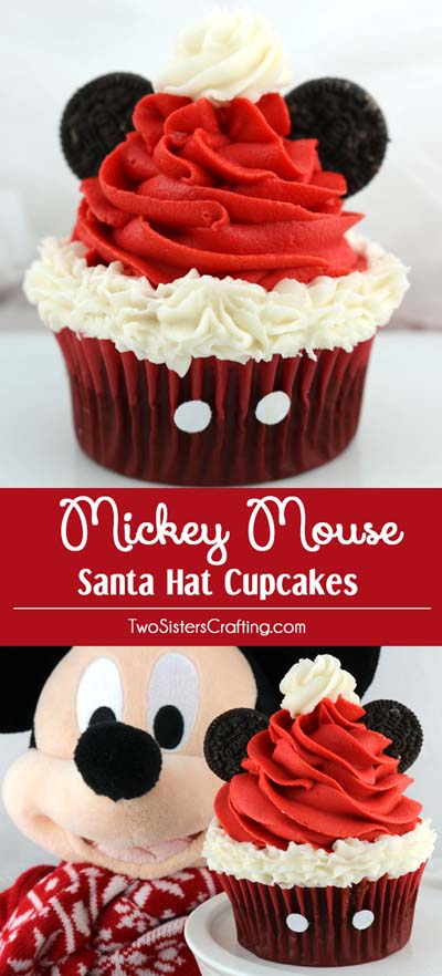 Christmas Cupcakes: Mickey Mouse Santa Hat Cupcakes