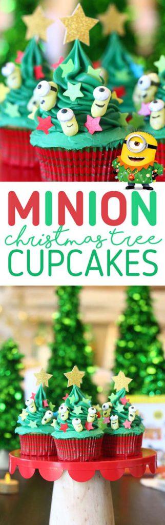 Christmas Cupcakes: Minion Christmas Tree Cupcakes